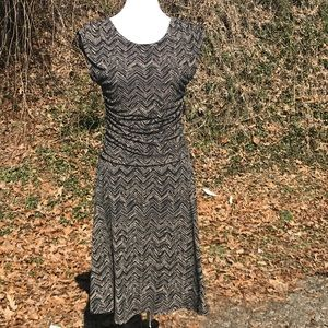 P Pullover Dress Stretch Ruched Cap Sleeve 12